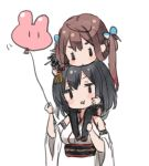 2girls asagumo_(kantai_collection) balloon bangs bare_shoulders black_hair black_legwear breasts brown_footwear brown_hair carrying chibi detached_sleeves eyebrows_behind_hair hair_ornament holding holding_balloon japanese_clothes kantai_collection kimono long_hair medium_breasts multiple_girls nuno_(pppompon) obi sash shoes short_sleeves shoulder_carry simple_background sleeveless sleeveless_kimono thigh-highs twintails very_long_hair white_background white_kimono white_sleeves wide_sleeves yamashiro_(kantai_collection)