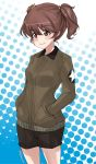 1girl abimaru_gup alisa_(girls_und_panzer) bangs black_shorts blue_background brown_eyes brown_hair brown_jacket closed_mouth commentary cowboy_shot emblem eyebrows_visible_through_hair freckles girls_und_panzer hair_ornament hands_in_pockets highres jacket long_sleeves looking_to_the_side military military_uniform polka_dot polka_dot_background saunders_military_uniform short_hair short_twintails shorts smirk solo standing star_(symbol) star_hair_ornament twintails twitter_username uniform