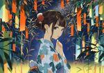 ao_fujimori bamboo brown_eyes brown_hair earrings hair_bun hair_ornament highres jewelry looking_at_viewer night original tanabata