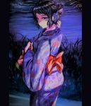 1girl back_bow bangs black_hair bow cowboy_shot fireworks floral_print grey_eyes hair_bun highres holding japanese_clothes kawakami_sadayo kimono looking_at_viewer looking_back night outdoors persona persona_5 print_kimono purple_kimono purple_sky red_bow shiny shiny_hair short_hair solo standing swept_bangs tied_hair twitter_username yaoto yukata
