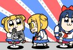 2girls :3 anger_vein bkub blonde_hair blue_eyes blue_hair bow commentary_request dual_persona hair_bow hair_ornament hair_scrunchie holding holding_microphone long_hair microphone multiple_girls pipimi poptepipic popuko school_uniform scrunchie serafuku short_hair sitting translation_request two_side_up yellow_eyes