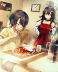 2girls absurdres animal_ear_fluff animal_ears apron asymmetrical_sleeves bangs black_hair black_shorts blush breasts clock closed_eyes closed_mouth collarbone commentary_request crossed_bangs curry curry_rice detached_sleeves eating eyebrows_visible_through_hair food glass hair_between_eyes highres holding_ladle hololive hololive_gamers indoors inugami_korone ladle long_hair looking_at_another medium_breasts misaki_nonaka multicolored_hair multiple_girls nekomata_okayu ookami_mio oozora_subaru pitcher plant potted_plant red_apron redhead rice shirakami_fubuki shirt short_hair shorts sitting small_breasts smile standing streaked_hair subaru_duck t-shirt very_long_hair virtual_youtuber water wolf_ears yellow_eyes