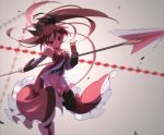 1girl bare_shoulders breasts detached_sleeves dress floating_hair food food_in_mouth holding holding_food holding_spear holding_weapon long_hair looking_at_viewer magical_girl mahou_shoujo_madoka_magica pocky polearm ponytail red_dress red_eyes redhead sakura_kyouko she_li_(lynxm) small_breasts solo spear symbol_commentary very_long_hair weapon