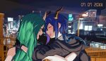 2girls arknights bare_shoulders black_gloves black_jacket blue_hair blush building ch'en_(arknights) cityscape closed_eyes commentary_request dragon_horns gloves green_hair horns hoshiguma_(arknights) jacket lamppost long_hair looking_at_another low_tied_hair multiple_girls night night_sky oni_horns open_mouth railing sky vento