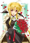 1girl black_legwear coat commentary_request dated fate_testarossa flower highres long_hair looking_at_viewer low_ponytail lyrical_nanoha mahou_shoujo_lyrical_nanoha_strikers military military_uniform pantyhose petals ponytail red_flower rose san-pon sitting smile solo tsab_executive_military_uniform twitter_username uniform white_coat