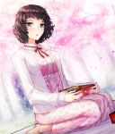 1girl brown_eyes brown_hair dress dutch_angle hanami highres jacket kawakami_sadayo kneeling long_dress long_sleeves looking_at_viewer neck_ribbon open_clothes open_jacket open_mouth persona persona_5 pink_dress print_dress red_ribbon ribbon shiny shiny_hair short_hair solo white_jacket yaoto