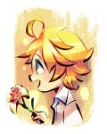 1girl ahoge blonde_hair collared_shirt commentary emma_(yakusoku_no_neverland) english_commentary flipped_hair flower flower_request from_side green_eyes highres holding holding_flower no_pupils open_mouth profile shirt short_hair simple_background solo upper_body white_background white_shirt yakusoku_no_neverland yi-wen_leow