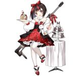 1girl :d alternate_costume bangs black_hair blush bow cake dress eyebrows_visible_through_hair fang food fork full_body fur_jacket girls_frontline glitter gun hair_bow hair_ribbon head_tilt high_heels holding holding_fork holding_plate looking_at_viewer m99_(girls_frontline) object_namesake official_art open_mouth pantyhose plate rabbit red_bow red_dress red_footwear red_ribbon ribbon rifle saru short_hair shrug_(clothing) sidelocks smile sniper_rifle solo standing table thigh_strap transparent_background violet_eyes weapon weapon_on_back white_legwear zijiang_m99
