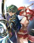 1boy 1girl alm_(fire_emblem) armor arrow_(projectile) bow_(weapon) breasts cape celica_(fire_emblem) closed_mouth fingerless_gloves fire_emblem fire_emblem_echoes:_shadows_of_valentia fire_emblem_heroes from_side fur_trim gloves green_eyes green_hair headpiece highres holding holding_bow_(weapon) holding_sword holding_weapon long_hair misu_kasumi red_eyes redhead short_hair sideboob sword weapon