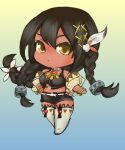1girl azur_lane black_hair boots bracelet braid chibi ci0 crop_top dark_skin detached_sleeves feathers gradient gradient_background hair_feathers hair_ornament jewelry multicolored multicolored_background native_american necklace south_dakota_(azur_lane) thigh-highs thigh_boots yellow_eyes