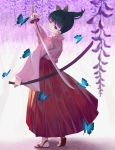 1girl bangs black_hair blurry_foreground bug butterfly butterfly_hair_ornament closed_mouth eyebrows_visible_through_hair floating_hair flower hair_ornament hakama highres holding holding_sheath holding_sword holding_weapon insect japanese_clothes katana kimetsu_no_yaiba kimono long_sleeves nekobell pink_kimono red_hakama sheath short_hair side_ponytail smile solo standing sword tabi tsuyuri_kanao unsheathed violet_eyes weapon white_legwear wisteria