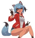1girl :d absurdres animal_ears bangs blue_eyes blue_hair blue_shorts brand_new_animal breasts commentary_request dark_skin elach eyebrows_visible_through_hair fingernails furry hair_over_one_eye highres jacket kagemori_michiru looking_at_viewer open_mouth raccoon_ears raccoon_girl raccoon_tail red_jacket sharp_fingernails shirt short_hair short_shorts shorts simple_background smile solo tail track_jacket v white_background white_shirt