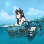 1girl :3 annin_musou black_hair black_neckwear black_swimsuit blush day green_eyes hair_between_eyes headgear i-47_(kantai_collection) kantai_collection long_hair neckerchief one-piece_swimsuit partially_submerged sailor_collar sailor_shirt shirt sleeveless sleeveless_shirt smile solo swimsuit swimsuit_under_clothes water white_sailor_collar white_shirt