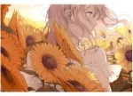 1girl close-up dress flower kakmxxxny06 long_hair original pink_hair solo sunflower white_dress wind