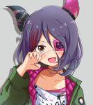 1girl brown_eyes eyepatch facing_viewer fang green_jacket hand_up hayasaka_mirei horns idolmaster idolmaster_cinderella_girls jacket long_sleeves looking_at_viewer narunaru1320 open_mouth purple_hair smile solo