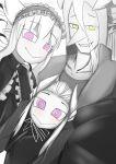 1girl 2boys albert_(musuko_ga_kawaikute_shikatanai_mazoku_no_hahaoya) demon_boy demon_girl demon_horns drake_(musuko_ga_kawaikute_shikatanai_mazoku_no_hahaoya) family family_portrait gothic gothic_lolita highres horns limited_palette lolita_fashion long_hair mastered_sd monochrome multiple_boys musuko_ga_kawaikute_shikatanai_mazoku_no_hahaoya nightmare_(musuko_ga_kawaikute_shikatanai_mazoku_no_hahaoya) pointy_ears pointy_nose sharp_teeth smile spiral_eyes spoilers teeth violet_eyes white_horns