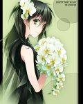 1girl 2012 bangs black_dress bouquet closed_mouth d.gray-man dated dress drugstore04 earrings flower from_side green_eyes green_hair hair_between_eyes hair_flower hair_ornament happy_birthday holding holding_bouquet jewelry lenalee_lee long_hair looking_at_viewer see-through shiny shiny_hair sleeveless sleeveless_dress smile solo standing white_flower