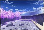 architecture cherry_blossoms clouds day east_asian_architecture hakugyokurou highres kaliningradg no_humans perfect_cherry_blossom petals rock rock_garden rooftop sand sky touhou tree veranda