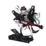 1girl alternate_costume amplifier arms_up assault_rifle baggy_clothes bangs belt black_footwear black_jacket black_shorts blush blush_stickers braid brown_eyes buckle claw_pose clothes_writing damaged dinosaur dinosaur_tail eyebrows_visible_through_hair fake_tail fake_wings floating_hair full_body g11_(girls_frontline) girls_frontline grey_shirt gun h&k_g11 hair_between_eyes hair_over_shoulder half-closed_eyes hat heckler_&_koch infukun instrument jacket jurassic_park keychain keytar leather_choker leg_up long_hair looking_at_viewer messy_hair multiple_belts nail_polish off_shoulder official_art open_clothes open_mouth parody red_nails rifle roaring rocker-chic shirt shoes short_shorts shorts side_braid sidelocks silver_hair sleeveless sleeveless_shirt sneakers socks solo tail teeth tongue torn_clothes torn_jacket torn_shirt transparent_background very_long_hair weapon weapon_case wings