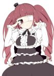 1girl bangs blunt_bangs blush brown_eyes brown_hair curly_hair dress drill_hair eyepatch frills gothic_lolita hanazono_yurine hat jashin-chan_dropkick lolita_fashion long_hair long_sleeves looking_at_viewer mini_hat ribbon simple_background solo tottotonero twin_drills twintails white_background