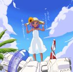 1girl auto_guard_system bananainu blue_eyes blush clouds coco_mercury dark_skin day dress flower hat hat_flower highres innertube jewelry last_origin necklace open_mouth outdoors purple_hair see-through_silhouette short_hair sky smile solo sun_hat sundress sunflower white_dress whiteshell