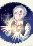 1boy 2018 allen_walker bangs black_vest blue_eyes character_name closed_mouth collarbone collared_shirt cropped_torso d.gray-man dated eyebrows_visible_through_hair facial_mark hair_between_eyes happy_birthday male_focus necktie outstretched_hand shirt silver_hair smile solo star_(symbol) vest white_background white_shirt wing_collar yamabuki_kanon