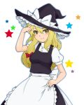 blonde_hair dress hat hazel_eyes kirisame_marisa kiriyama_machi long_hair smile touhou witch_hat yellow_eyes
