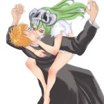 arrancar bleach bodai closed_eyes facial_mark green_hair hug kiss kurosaki_ichigo leg_lock long_hair neliel_tu_oderschvank nelliel_tu_odelschwanck promotions skull torn_clothes