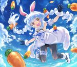 1girl animal_ear_fluff animal_ears ankle_cuffs arm_cuffs blue_hair blue_sky braid bunny-shaped_pupils bunny_girl carrot carrot_hair_ornament clouds coat commentary dress eyebrows_visible_through_hair food_themed_hair_ornament fur-trimmed_dress fur-trimmed_gloves fur_scarf fur_trim gloves hair_ornament highres hololive jumping leotard long_braid long_hair looking_at_viewer multicolored_hair pantyhose rabbit_ears sakino_shingetsu sky solo strapless strapless_leotard twin_braids usada_pekora virtual_youtuber white_coat white_footwear white_hair