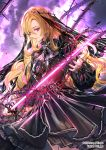 1girl black_dress blonde_hair blurry_foreground closed_mouth cowboy_shot curly_hair dress floating_hair glowing glowing_sword glowing_weapon hair_between_eyes holding holding_sword holding_weapon layered_dress long_hair long_sleeves red_eyes sid_story sila_(carpen) soles standing sword thorns very_long_hair weapon