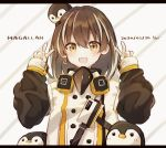1girl animal_on_head arknights baby_penguin brown_eyes brown_hair character_name coat dated double_v gloves jewelry magallan_(arknights) multicolored_hair nstlgie on_head single_earring smile streaked_hair v white_gloves winter_clothes winter_coat