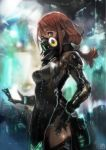1girl absurdres bangs blurry blurry_background breasts gas_mask hand_on_hip high_collar highres long_hair medium_breasts medium_hair okuto original profile red_eyes redhead side_slit solo standing thigh-highs