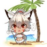 1girl animal_ear_fluff animal_ears bangs bare_arms bare_shoulders beach blush chibi commentary_request dark_skin day eyebrows_visible_through_hair facial_mark fish fox_ears fox_girl fox_tail full_body grey_hair hair_between_eyes high_ponytail highres holding looking_at_viewer navel open_mouth original outdoors polearm ponytail red_eyes sand solo spear standing tail water weapon white_background yuuji_(yukimimi)