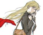 1girl 203wolves bangs black_jacket blonde_hair blurry_foreground cellphone eyebrows_visible_through_hair floating_hair from_side graphite_(medium) hair_between_eyes highres holding holding_phone jacket long_hair long_sleeves open_clothes open_jacket phone red_eyes shirt simple_background sketch smartphone solo standing tenjouin_asuka traditional_media upper_body very_long_hair white_background white_shirt wind wind_lift yuu-gi-ou yuu-gi-ou_gx