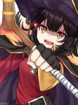 :d absurdres artist_name bangs belt belt_buckle black_belt black_cape black_gloves black_hair black_headwear breasts brown_eyes buckle cape dress fingerless_gloves gloves hair_between_eyes hat highres kono_subarashii_sekai_ni_shukufuku_wo! megumin open_mouth red_dress rinse_7 sarashi short_hair sidelocks small_breasts smile sparkle staff twitter_username upper_body witch_hat