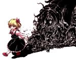 1girl black_skirt black_vest blonde_hair blush commentary_request darkness full_body hair_ribbon isu_(is88) long_sleeves monster open_mouth outstretched_arms red_eyes red_footwear red_neckwear red_ribbon ribbon rumia shadow shirt shoes short_hair simple_background skirt smile socks touhou vest walking white_background white_legwear white_shirt