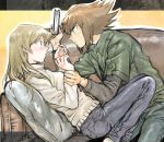 1boy 1girl 203wolves blonde_hair blue_pants brown_eyes brown_hair casual couch couple eye_contact from_side green_jacket grey_pants grey_shirt holding indoors jacket long_hair long_sleeves looking_at_another multicolored_hair open_clothes open_jacket pants pillow shiny shiny_hair shirt short_over_long_sleeves short_sleeves spiky_hair straight_hair sweater tenjouin_asuka traditional_media two-tone_hair white_sweater wrist_grab yuu-gi-ou yuu-gi-ou_gx yuuki_juudai