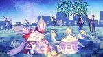 4girls 5boys :3 :d bamboo bow building carna closed_eyes dunban fang fiorung grass green_fur hair_bow highres kino_(xenoblade) lantern melia multiple_boys multiple_girls nene_(xenoblade) night night_sky nopon open_mouth outdoors pink_fur rein_(xenoblade) riki_(xenoblade) shulk sky smile star_(sky) starry_sky tanabata tanzaku xenoblade_(series) xenoblade_1 xenoblade_1:_tsunagaru_mirai yumiyoiyoi