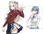 2girls alternate_costume alternate_hairstyle alternative_hairstyle angry artist_request artoria_pendragon_(all) artoria_pendragon_(all)_(cosplay) black_skirt blue_eyes blue_hair byleth_(fire_emblem) byleth_(fire_emblem)_(female) byleth_eisner_(female) cosplay crossover edelgard_von_hresvelg fate/stay_night fate_(series) female_my_unit_(fire_emblem:_fuukasetsugetsu) fire_emblem fire_emblem:_fuukasetsugetsu fire_emblem:_three_houses fire_emblem_16 food intelligent_systems my_unit_(fire_emblem:_fuukasetsugetsu) nintendo parody red_sweater ribbon saber saber_(cosplay) tohsaka_rin tohsaka_rin_(cosplay) toosaka_rin toosaka_rin_(cosplay) turtleneck turtleneck_sweater type-moon violet_eyes white_background white_hair