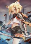 1girl animal_ear_fluff animal_ears arknights arrow_(projectile) bandaged_arm bandages bangs black_gloves black_shorts blonde_hair bow_(weapon) city cloak crop_top ear_piercing fingerless_gloves fox_ears fox_girl fox_tail gloves hair_between_eyes hair_ornament hairclip highres holding holding_bow_(weapon) holding_weapon hood hooded_cloak looking_at_viewer midriff mitake_eiru navel open_mouth orange_eyes piercing quiver shirt short_hair shorts solo stomach tail vermeil_(arknights) weapon white_shirt wind
