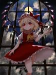 1girl arm_at_side arm_up bangs blonde_hair clouds commentary cravat cropped_legs fingernails flandre_scarlet from_below full_moon hat hat_ribbon head_tilt highres indoors kayon_(touzoku) looking_at_viewer mob_cap moon night one_side_up open_hand petticoat puffy_short_sleeves puffy_sleeves red_eyes red_nails red_skirt red_vest ribbon shirt short_hair short_sleeves skirt smile solo standing touhou vest white_headwear white_shirt window wings yellow_neckwear