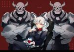 1girl alcohol armchair bangs black_tail blush breasts business_suit chair crown cup demon_girl demon_horns demon_tail drinking_glass formal fromchawen gloves helltaker horns large_breasts long_hair looking_at_viewer lucifer_(helltaker) mole mole_under_eye necktie neckwear red_background red_eyes red_shirt shirt sitting skeleton_(helltaker) smile suit tail white_gloves white_hair white_horns wine wine_glass
