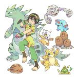 1girl adapted_costume avatar:_the_last_airbender avatar_(series) black_hair bone crossover cubone dugtrio fingerless_gloves gen_1_pokemon gen_2_pokemon geodude gloves mojgon odd_one_out phanpy poke_ball poke_ball_(generic) pokemon pokemon_(creature) sandshrew simple_background smile swinub tail toeless_legwear toph_bei_fong tyranitar