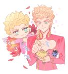 1boy blonde_hair braid brooch bug character_doll earrings giorno_giovanna green_eyes hair_over_shoulder heart insect jewelry jojo_no_kimyou_na_bouken korean_text ladybug male_focus petals sari_(sal2e) single_braid smile solo stud_earrings upper_body vento_aureo