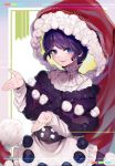 1girl :3 alternate_size bangs blue_eyes blush buttons choker commentary_request cowboy_shot doremy_sweet eyebrows_visible_through_hair floating_hair fur-trimmed_headwear hat ishikawa_sparerib large_hat long_sleeves looking_at_viewer nightcap open_mouth outstretched_hand oversized_clothes pom_pom_(clothes) popped_collar purple_hair red_headwear short_hair sidelocks smile solo swept_bangs touhou two-tone_dress wavy_mouth
