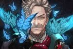 1boy blue_eyes bug butterfly facial_hair fate/grand_order fate_(series) grey_hair insect james_moriarty_(fate/grand_order) kdm_(ke_dama) male_focus mustache portrait silk spider_web