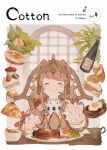1girl blush bottle brown_hair check_copyright closed_eyes commentary_request copyright_request cupcake eating egg food fork highres junwool knife lettuce long_hair original pizza pointy_ears sandwich smile solo steak strawberry_shortcake upper_body