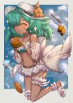 1girl :i ^_^ bangs bare_shoulders bikini blush brown_flower closed_eyes closed_mouth commentary_request dark_skin eating flower food full_body granblue_fantasy green_hair hair_over_one_eye hamburger hat hat_flower high_heels highres holding holding_food jacket kolulu_(granblue_fantasy) long_hair navel off_shoulder open_clothes open_jacket sandals shaved_ice solo sparkle spoon swimsuit uneg white_bikini white_footwear white_headwear white_jacket yakisobapan