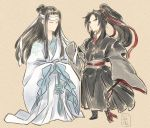 2boys black_hair cidate closed_eyes english_text full_body long_hair long_sleeves mo_dao_zu_shi multiple_boys multiple_girls no_mouth no_nose ookami_(game) parody red_ribbon ribbon sleeves_past_fingers sleeves_past_wrists standing style_parody wangji_lan white_ribbon white_robe wide_sleeves wuxian_wei