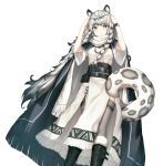1girl animal_ears arknights bangs belt black_belt black_cape black_footwear boots braid cape commentary dress eyebrows_visible_through_hair feet_out_of_frame fur-trimmed_boots fur_trim grey_eyes grey_legwear hands_up head_chain leopard_ears leopard_tail long_hair looking_at_viewer pouch pramanix_(arknights) seonrang silver_hair simple_background solo standing tail thigh-highs twin_braids very_long_hair watch watch white_background white_dress